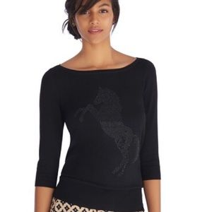 WHBM | Beaded Horse Lightweight Sweater Top